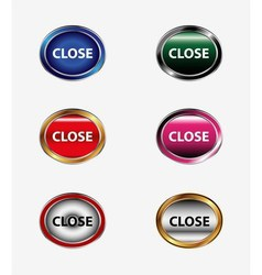 Set of close isolated button vector