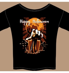 T shirt with halloween zombie graphic vector