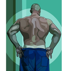 Large male athlete view from the back vector