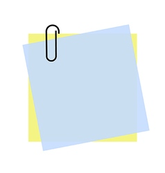 Yellow and blue sticky note with paper clip eps 10 vector