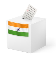 Ballot box with voicing paper india vector