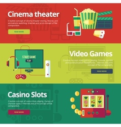Set of flat design concepts for cinema theater vector