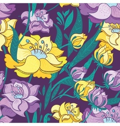 Purple and yellow peony pattern vector
