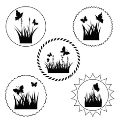 Grass label vector