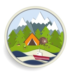 Camping and forest recreation badge vector