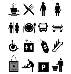 Hotel and restaurant icons set vector