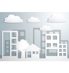 Paper town and buildings vector