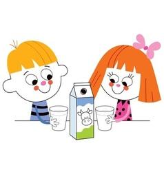 Little boy and girl drinking milk vector