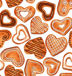 Seamless pattern of watercolor heart cookies vector