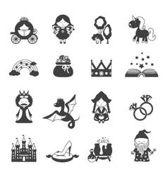 Fairy tale black set vector