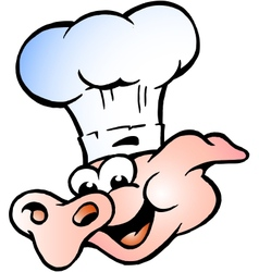 Hand-drawn of an chef pig head vector