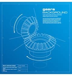 Gears blueprint background vector