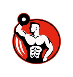 Body builder lifting a dumbbell vector