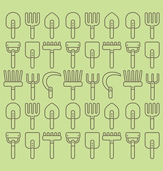 Garden tools set seamless pattern vector