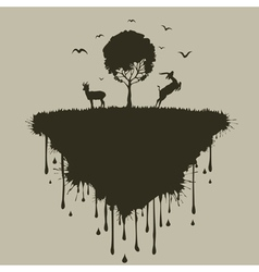 Island of deer vector