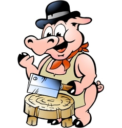 Hand-drawn of an butcher pig vector