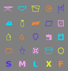 Cloth care sign and symbol color icons vector