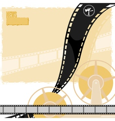 Light background with a reel of film movie camera vector