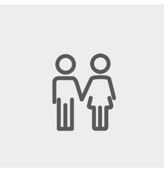 Little siblings thin line icon vector