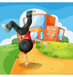 A boy doing breakdance along the school vector