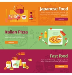 Set of flat design concepts for japanese food vector