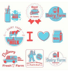 Dairy badges color vector
