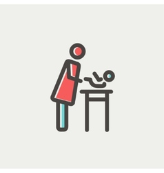 Woman changing the baby diaper thin line icon vector