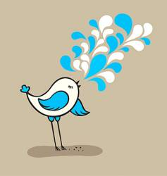 Cute bird singing vector