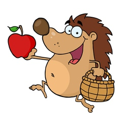 Happy hedgehog runs with apple vector