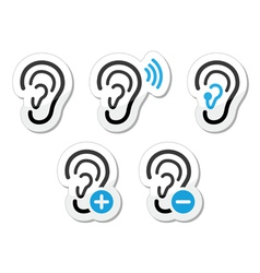 Ear hearing aid deaf problem icons set as labels vector