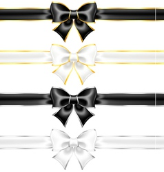 White and black bows with gold and silver edging vector
