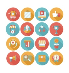 Shopping flat icons set vector