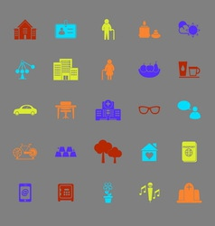 Retirement community color icons vector