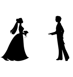 Silhouettes of bride and groom vector