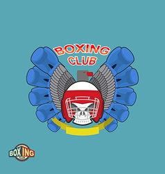 Boxing labels skull in a boxing helmet with gloves vector