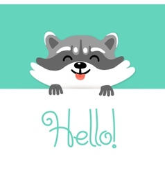 Cute raccoon says hello to you vector