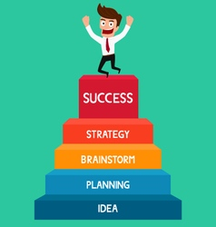 Businessman going up to success staircase success vector