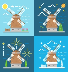 Flat design 4 styles of windmill amsterdam vector