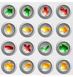 Set of brushed steel buttons vector