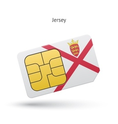 Jersey mobile phone sim card with flag vector