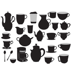 Set of coffee pots and cups vector