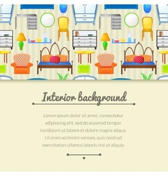 Background with elements furniture vector