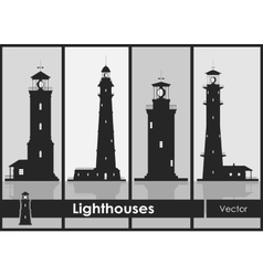 Lighthouses set of silhouettes of large vector