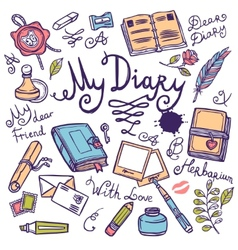 Diary writing instrument set vector