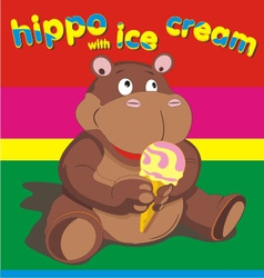 Hippo wich ise cream vector