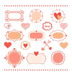 Set romantic frames and hearts vector