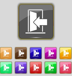 Door enter or exit icon sign set with eleven vector