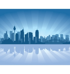 Sydney australia skyline with reflection in water vector