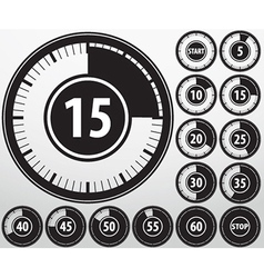Analog timer icons set vector