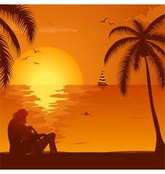 Summer sunset with couple vector